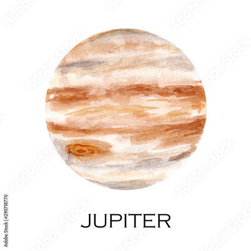 Watercolor illustration of Jupiter planet Canvas Print