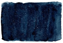 Watercolor Dark Navy Background. Dark Blue Sky With Stars. Hand Drawn Illustration, Perfect For Textures And Backgrounds.