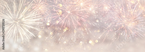 Fotografia abstract gold and silver glitter background with fireworks