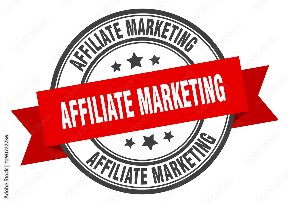 Fototapeta affiliate marketing label. affiliate marketing red band sign. affiliate marketing