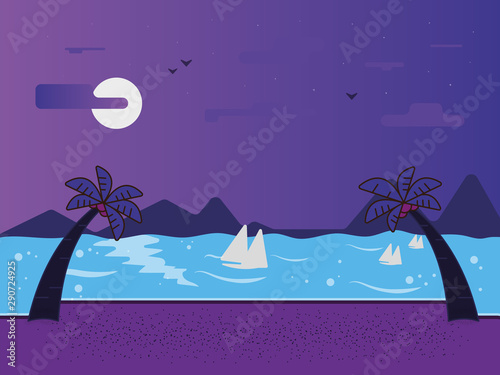 Poster Violet Night landscape with sea and beach views