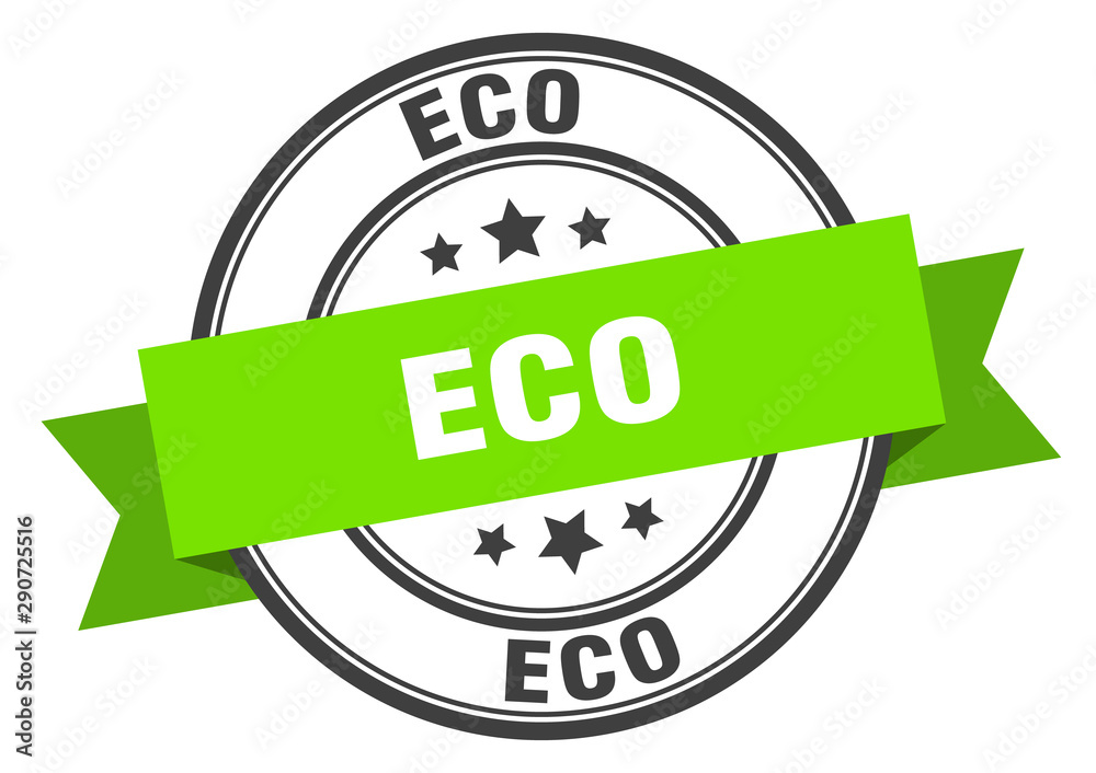 Fototapety, obrazy: eco label. eco green band sign. eco