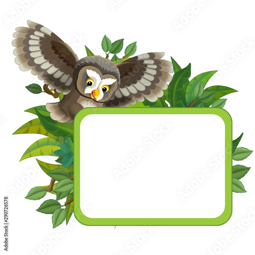 cartoon scene with nature frame and animal flying owl - illustration for children - 290726578