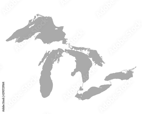 Karte der Großen Seen Tablou Canvas