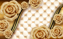 3d Mural Illustration Background With Golden Jewelry And Flowers , Circles  Decorative Wallpaper