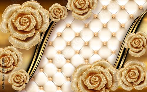 Fototapety 3d   3d-mural-ilustracji-tle-ze-zlota-bizuteria-i-kwiatami-kola-dekoracyjne-tapety