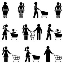 Stick Figure Man And Woman With Shopping Cart Vector Icon People Pictogram. Happy Family In Supermarket Buying Food Silhouette