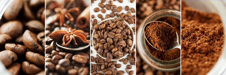 Collage made of different close-up images of coffee