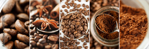 Collage made of different close-up images of coffee Tapéta, Fotótapéta