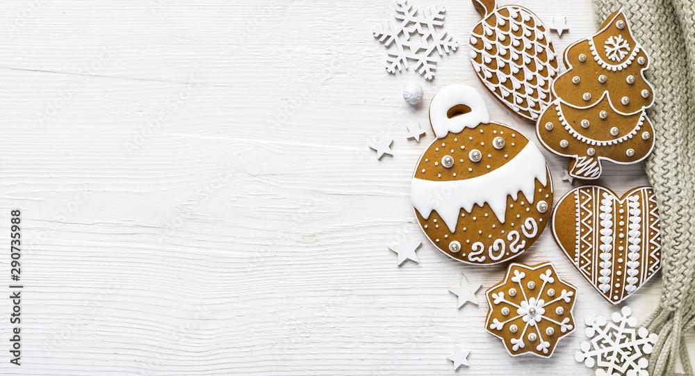 Fototapety, obrazy: Homemade gingerbread on white wooden table