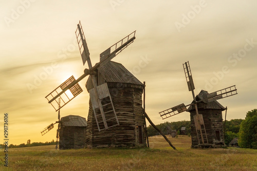 Old wooden windmills Ukrainian style that were popular in the last century
