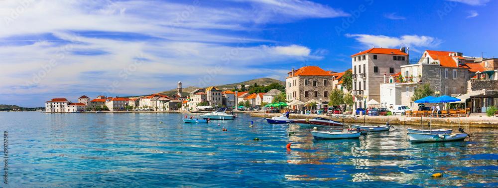Fototapety, obrazy: Travel in Croatia. Traditional coastal village Kastela, Kastel Novi , Dalmatia