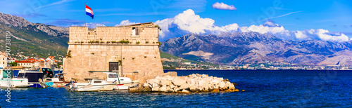 Medieval castles of Croatia. Kastela, Kastel Stafilic,Nehaj Tower over sea, Central Dalmatia