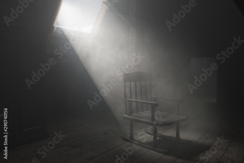 3d rendering of old rocking chair at dark attic with light ray Canvas Print
