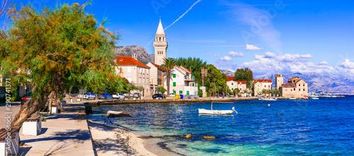 Obraz Beautiful old coastal villages in Croatia. Kastela in Dalmatia. view of Kastel Stafilic village - fototapety do salonu