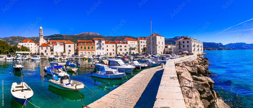 Fototapety, obrazy: Travel in Croatia. Traditional coastal village Kastela, Kastel Novi with charming harbor