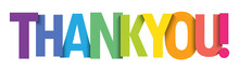 THANK YOU! Vector Rainbow Gradient Typography Banner