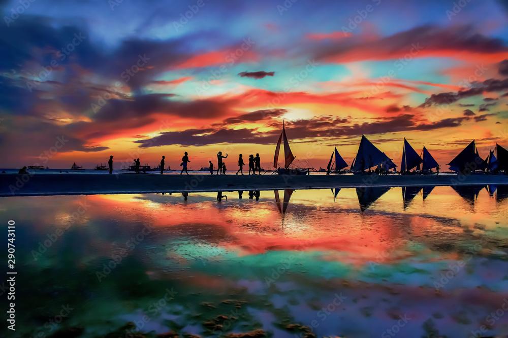 Fototapety, obrazy: Boracay Island beach sunset in Philippines
