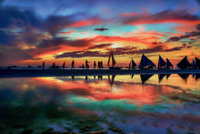 Boracay Island Beach Sunset In...