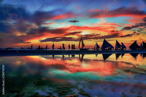 Photo Boracay Island beach sunset in Philippines
