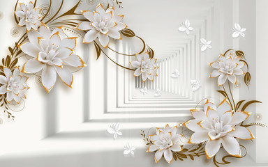 Fototapeta Popularne 3d mural illustration background with golden jewelry and flowers , circles decorative wallpaper