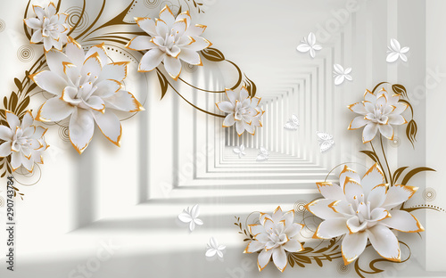 3d mural illustration background with golden jewelry and flowers , circles  decorative wallpaper #290743784