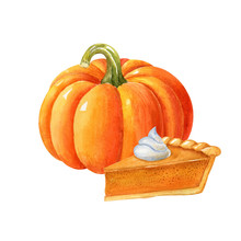 Fresh Ripe Orange Pumpkin And Piece Of American Pumpkin Pie Isolated On White Background. Autumn Watercolor Food Illustration. Handdrawn Clipart.