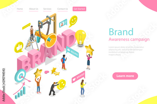 Photo  Isometric flat vector landing page template of brand awareness campaign, online branding and marketing, company digital promotion