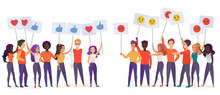 People Holding Emoji Posters F...