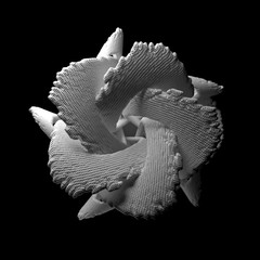 3d render abstract figure. White structure made of repetitive elements.
