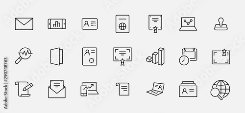 Photo Set of Legal Documents Related Vector Line Icons