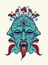 Psychedelic Face With Tongue A...