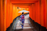 Woman in traditional kimono and umbrela walking at torii gates, Japan