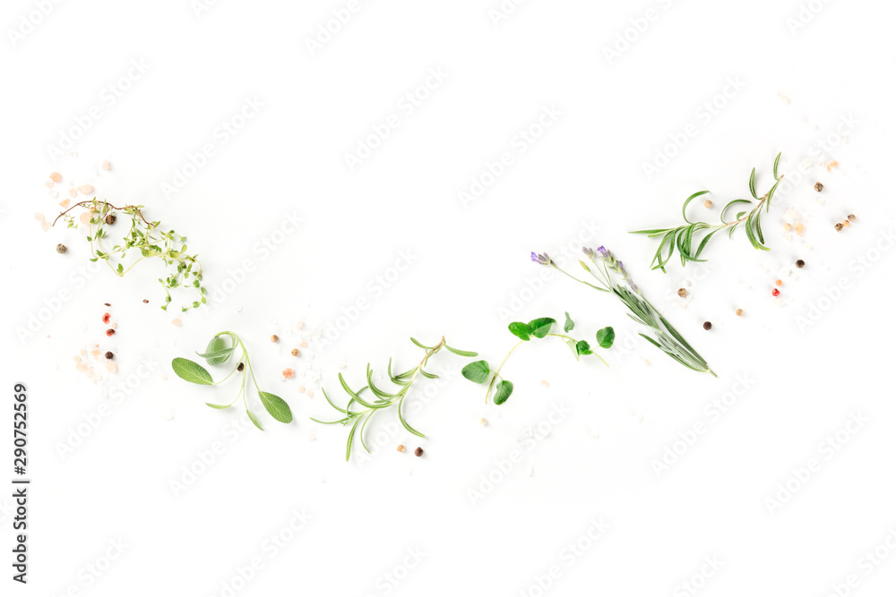 Fototapety, obrazy: Culinary aromatic herbs on a white background, a flat lay composition with a place for text, a cooking design template