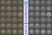 Islamic Patterns With Stars Persian Motif . 3d Ramadan Islamic Round Ornaments Elements . Set Of Geometric Logo Templates. Circular Ornamental Arabic Symbols.