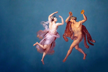 Graceful fresco from Palazzo dei Normanni, Palermo. Painted by Giuseppe Patan...