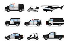 Set Of Police Vehicles. Vector...
