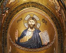 Ancient Mosaic Of Christ Pantocrator In Palatine Chapel, Palermo