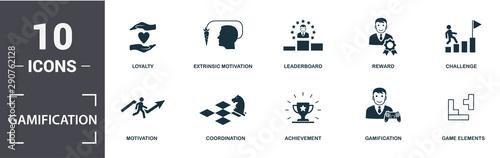 Cuadros en Lienzo  Gamification icon set