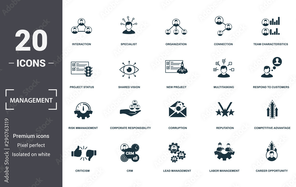 Fototapety, obrazy: Management icons set collection. Includes simple elements such as Interaction, Specialist, Organization, Connection, Team Characteristics, Corporate Responsibility and Corruption premium icons