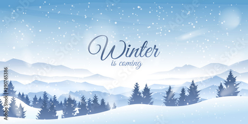 Foto auf AluDibond Himmelblau Vector illustration. Flat landscape. Snowy background. Snowfall. Clear blue sky. Blizzard. Cartoon wallpaper. Winter season. Forest trees and mountains. Polygonal spruces. Snowdrift. Countryside scene