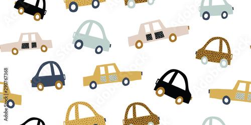 Foto op Aluminium Cartoon cars Kids handdrawn seamless pattern with colorful cars