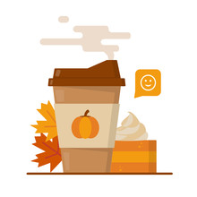 Pumpkin Spice Latte Season. Mug Of Coffee To Go, Pumpkin Pie And Maple Leaves. Flat Vector Illustration.