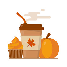 Pumpkin Spice Latte Season. Coffee Paper Cup With Steam And Orange Cupcake. Flat Vector Illustration.