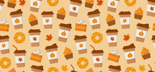 Pumpkin Spice Latte Season. Coffee Mugs, Donuts, Pumpkin Pie Slices And Autumn Leaves. Flat Vector Seamless Pattern.