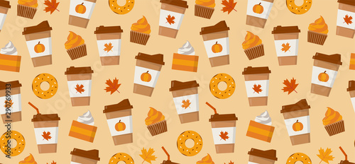 fototapeta na ścianę Pumpkin spice latte season. Coffee mugs, donuts, pumpkin pie slices and autumn leaves. Flat vector seamless pattern.