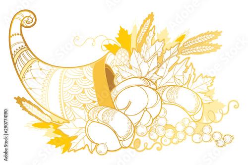 Fototapeta Outline gold Cornucopia or Horn of plenty full of pumpkin, grape, wheat and maple leaf isolated on white background.  obraz
