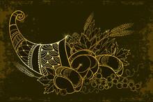 Outline Gold Cornucopia Or Hor...