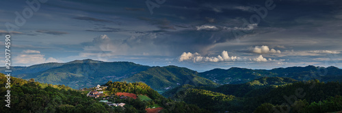 Photo sur Aluminium Bleu nuit scenic view of mountains in northern thailand