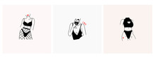 Set Of Three Fashion Illustrations. Stylish Graceful Faceless Ladies. Hand Drawn Outline Bodies. Black Vector Trendy Illustration With Red Parts